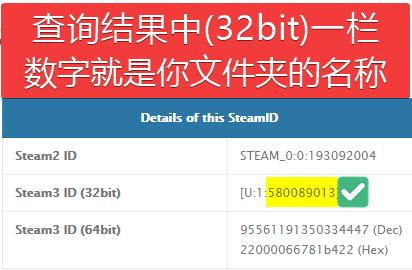 Steam3 ID (32bit)就是你文件夹的名称