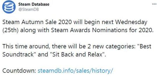 Steam秋促(黑五)预计北京时间11月26日凌晨2点开启