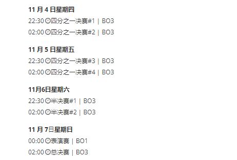 八强淘汰赛阶段的日程安排